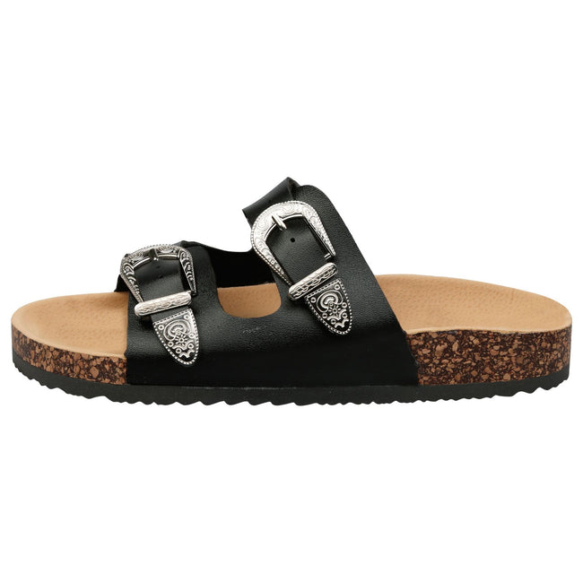 Meredith Buckled Sliders in Black Faux Leather