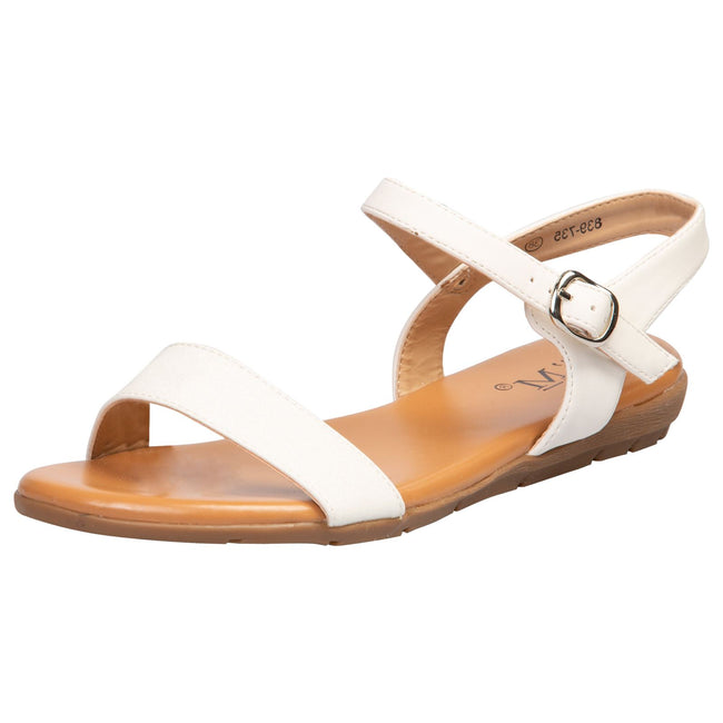 Lucy Flat Glitter Sandals in White