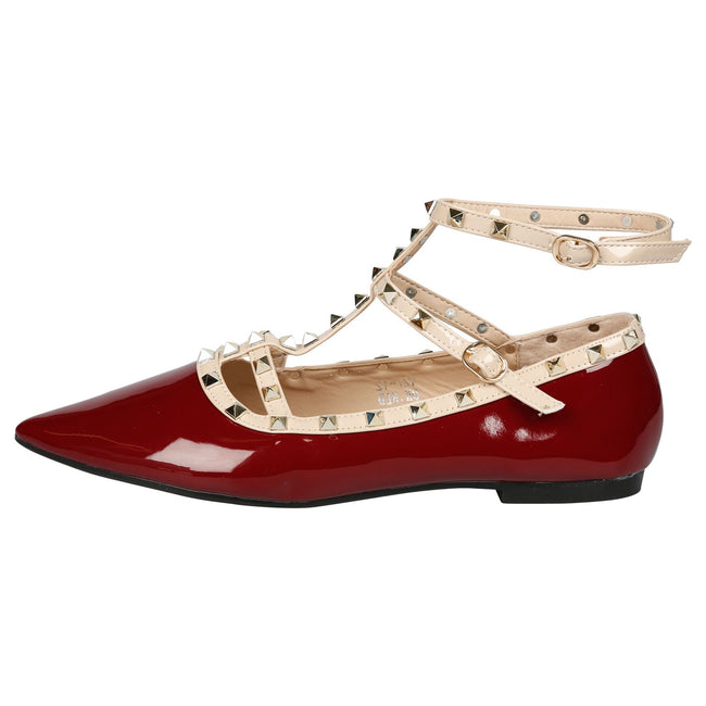 Michaela Studded Ankle Strap Flats in Burgundy Patent