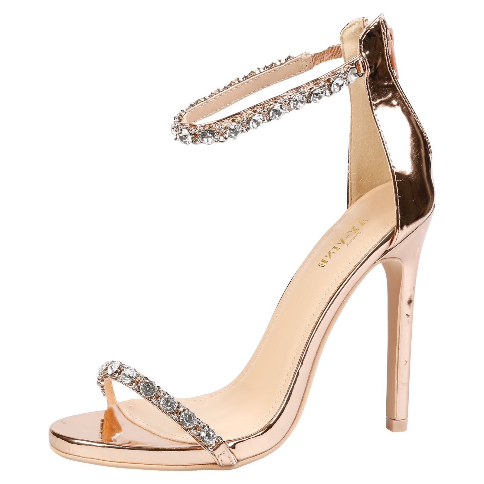 Laura Diamante Ankle Strap Sandals in Rose Gold