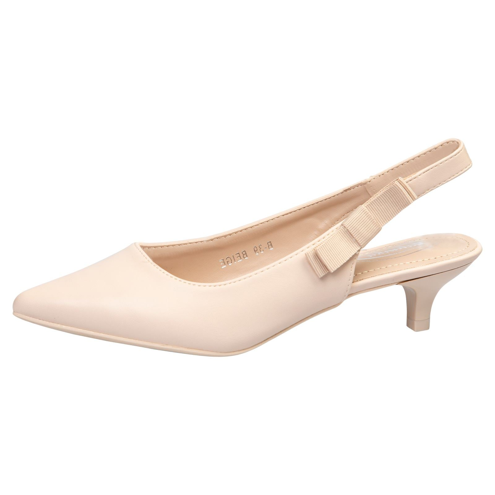 Alora Slingback Pumps in Beige Nude Faux Leather - Feet First Fashion