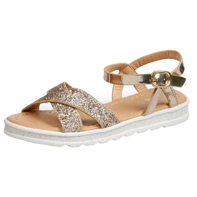 Bernice Girls Metallic Glitter Sandals in Gold - Feet First Fashion