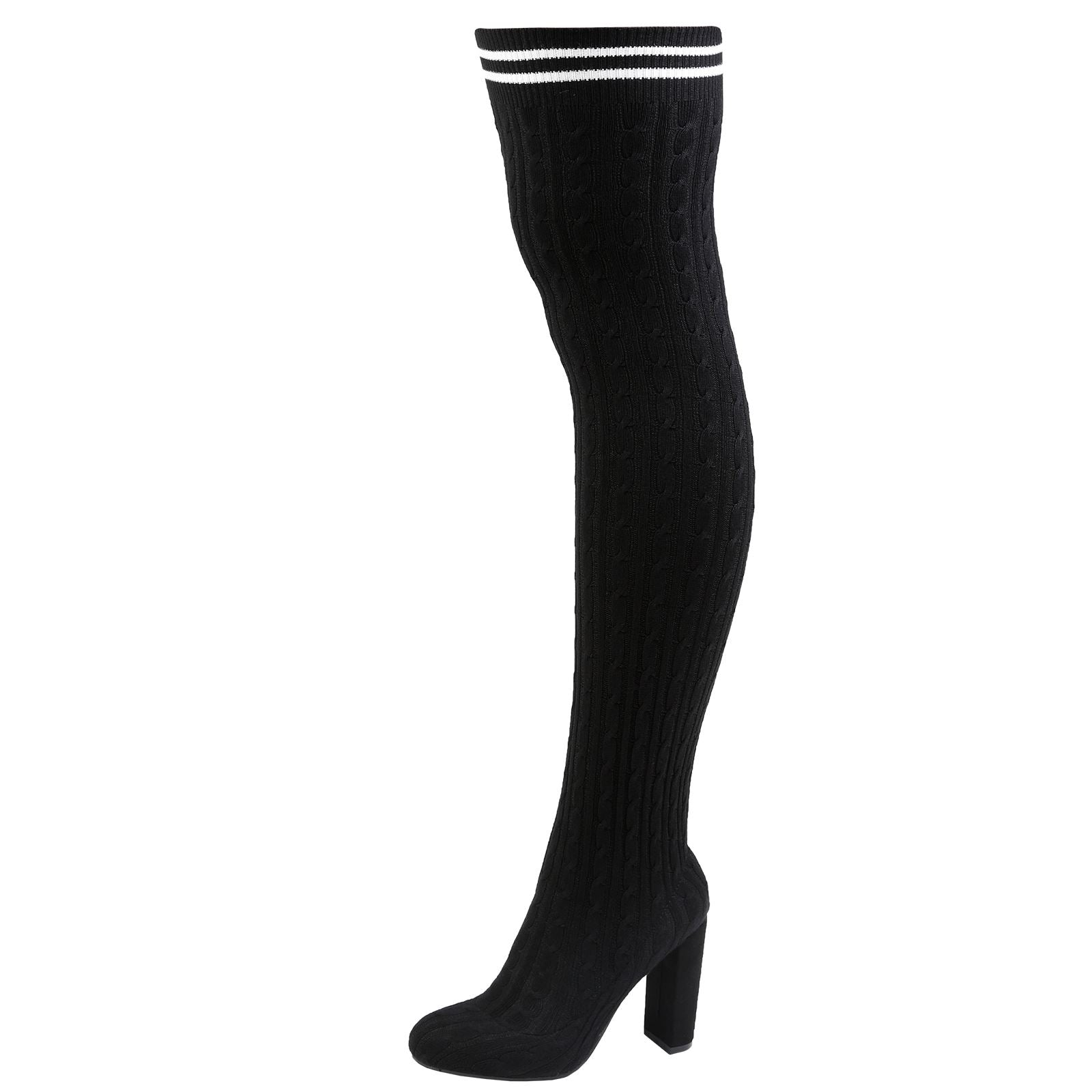 Daniela Cable Knit Over the Knee Boots in Black