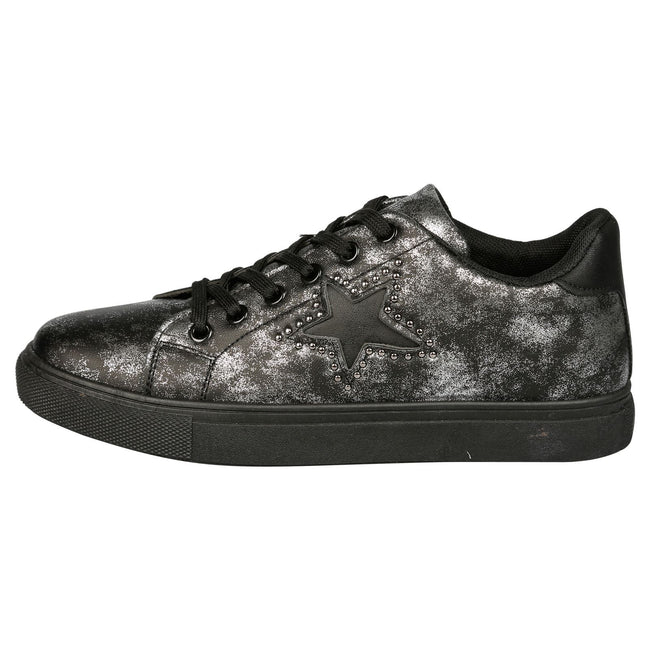 Elease Distressed Star Detail Trainers in Black Faux Leather
