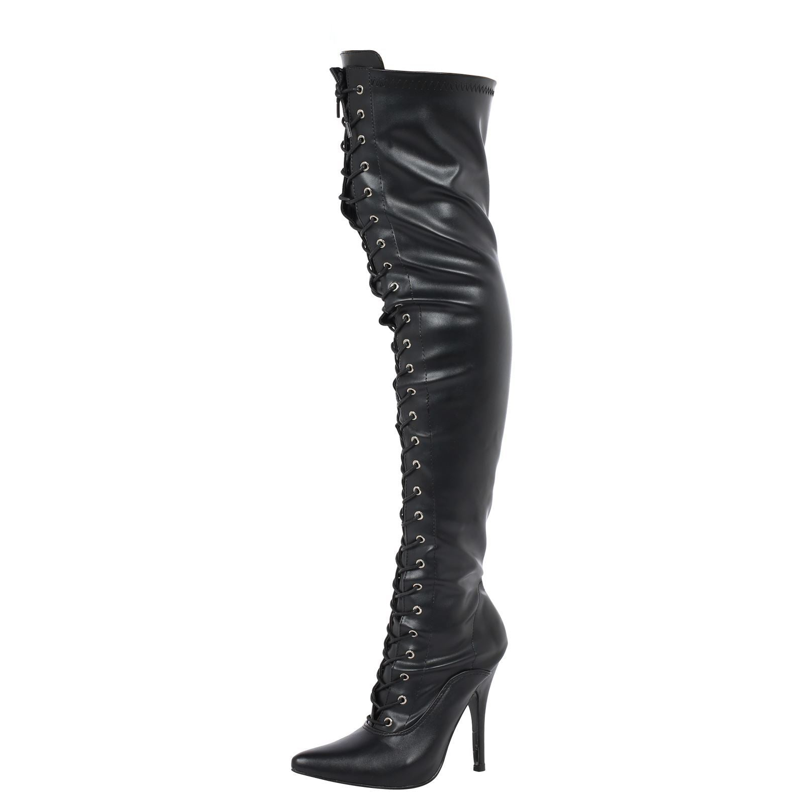 Destiny Lace Up Thigh High Boots in Black Faux Leather