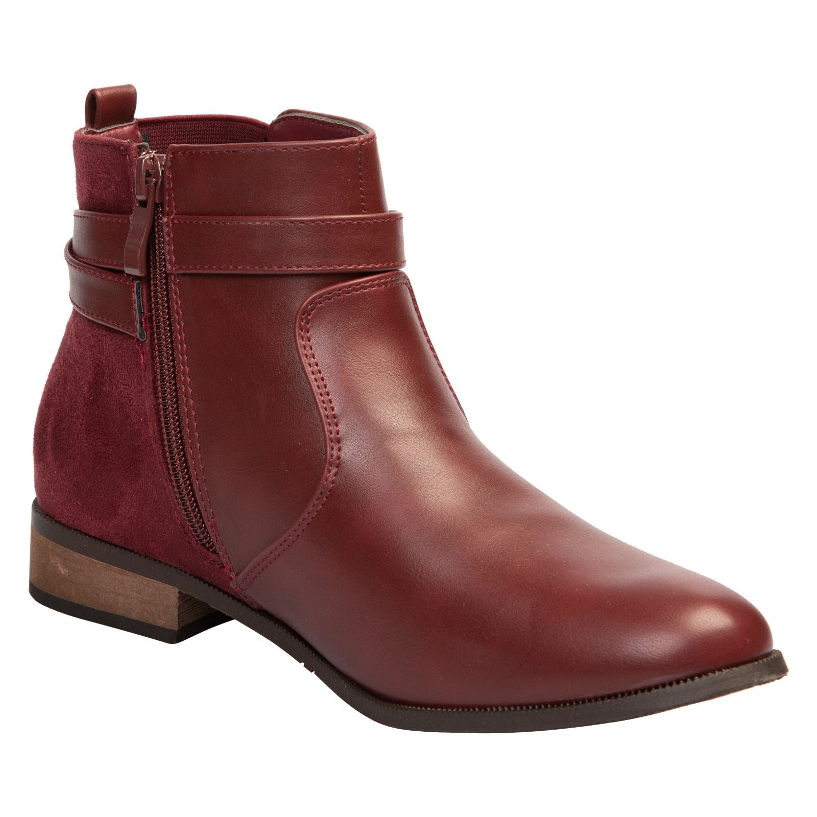 Jasmine Two-Tone Ankle Boots in Wine Red - Feet First Fashion