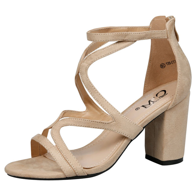 Lindsay Block Heel Cut Out Sandals in Beige Faux Suede