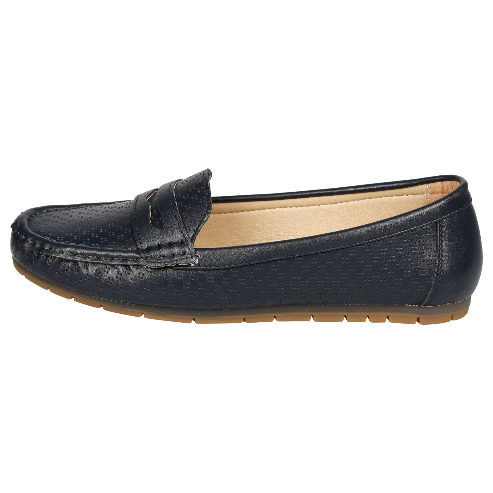 Celinda Textured Mocassins in Navy Faux Leather