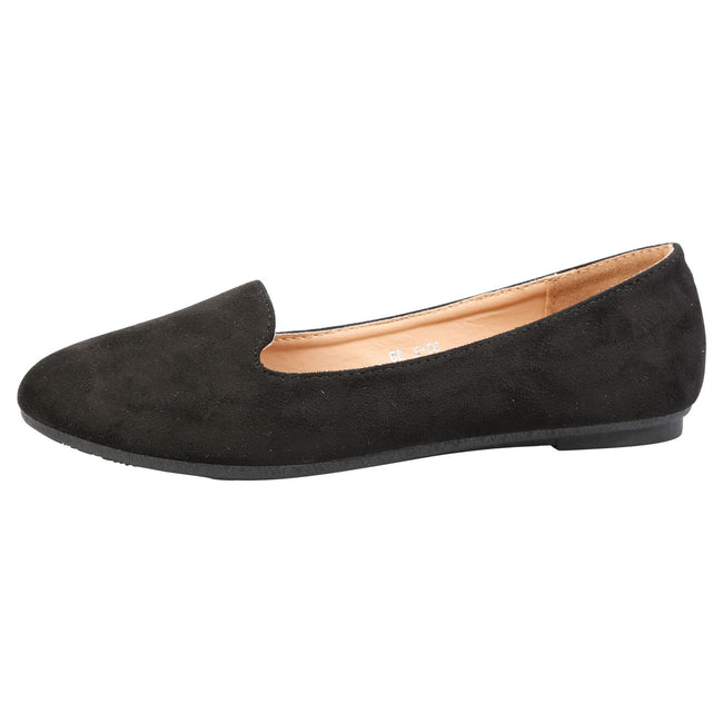 Antonia Loafer Flats in Black Faux Suede