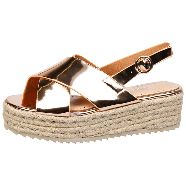 Joanne Slingback Flatform Espadrilles Sandals in Rose Gold