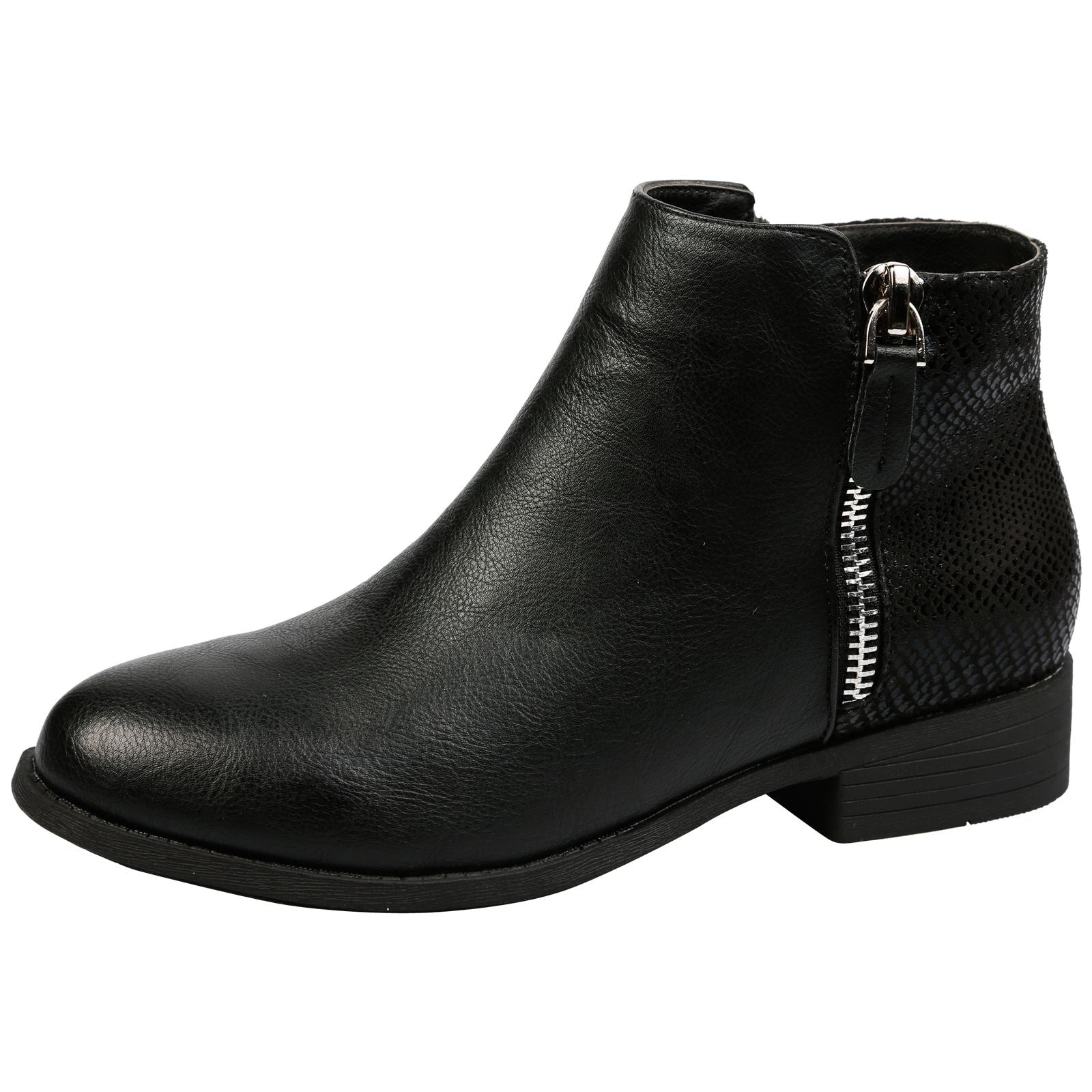 Evangelista Two Tone Zip Detail Ankle Boots in Black Faux Leather