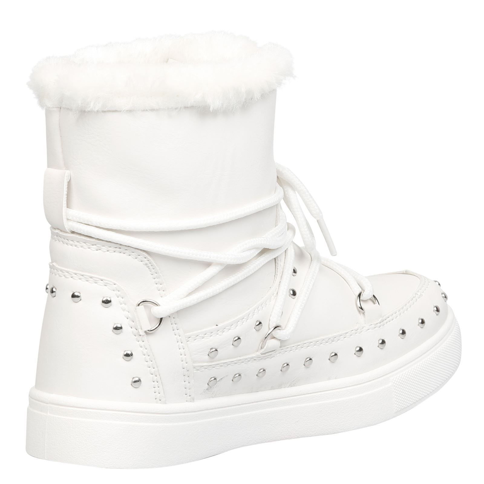 Cecilia Girls Fur Lined Boots in White - Feet First Fashion