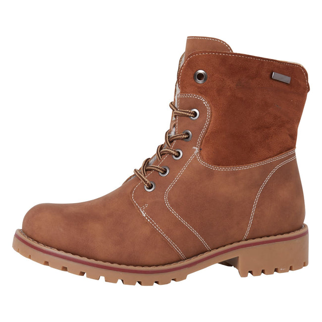 Monserrat Zip Up Combat Boots in Camel Nubuck
