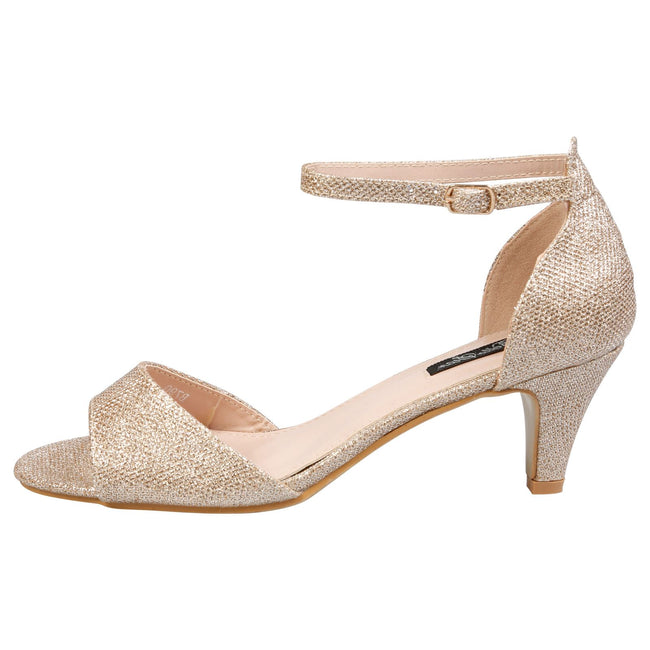 Laurie Low Heel Ankle Strap Sandals in Champagne Shimmer