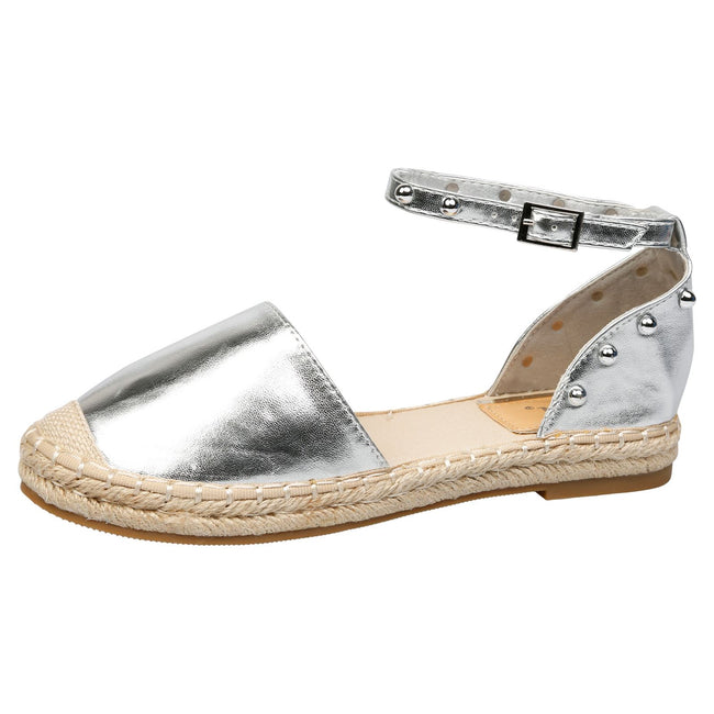 Andrea Studded Ankle Strap Espadrilles in Silver Faux Leather