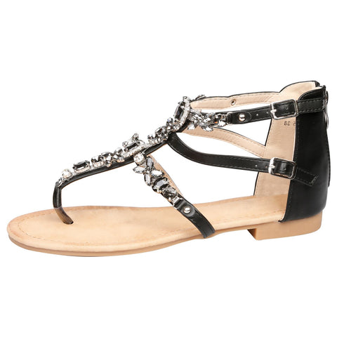 Demeter Flatform Floral Jewel Sandals in Black Faux Leather
