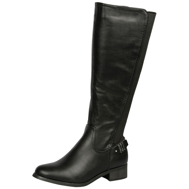 Scarlette Elasticarted Mid Calf Boots in Black - Feet First Fashion