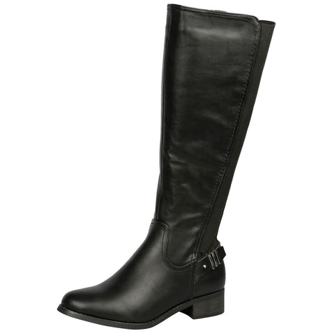 Aadhya Two Toned Mid Calf Boots in Black