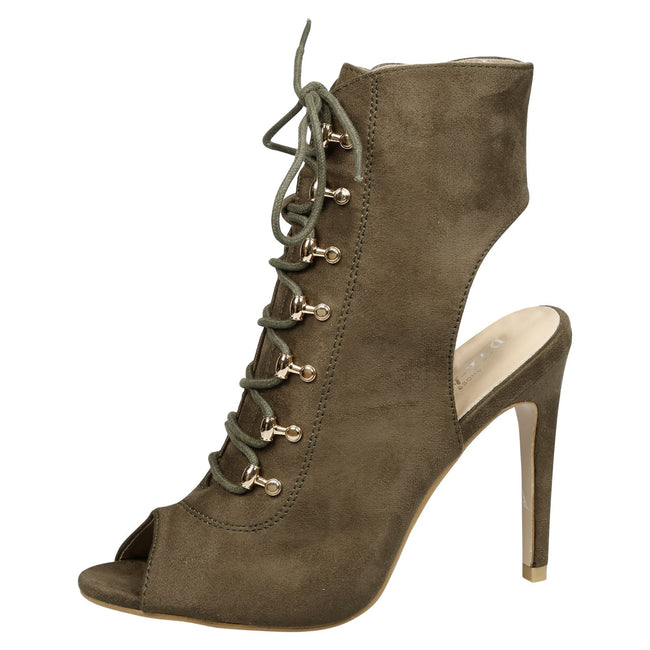 Viviana Lace Up Peep Toe Ankle Boots in Olive Faux Suede