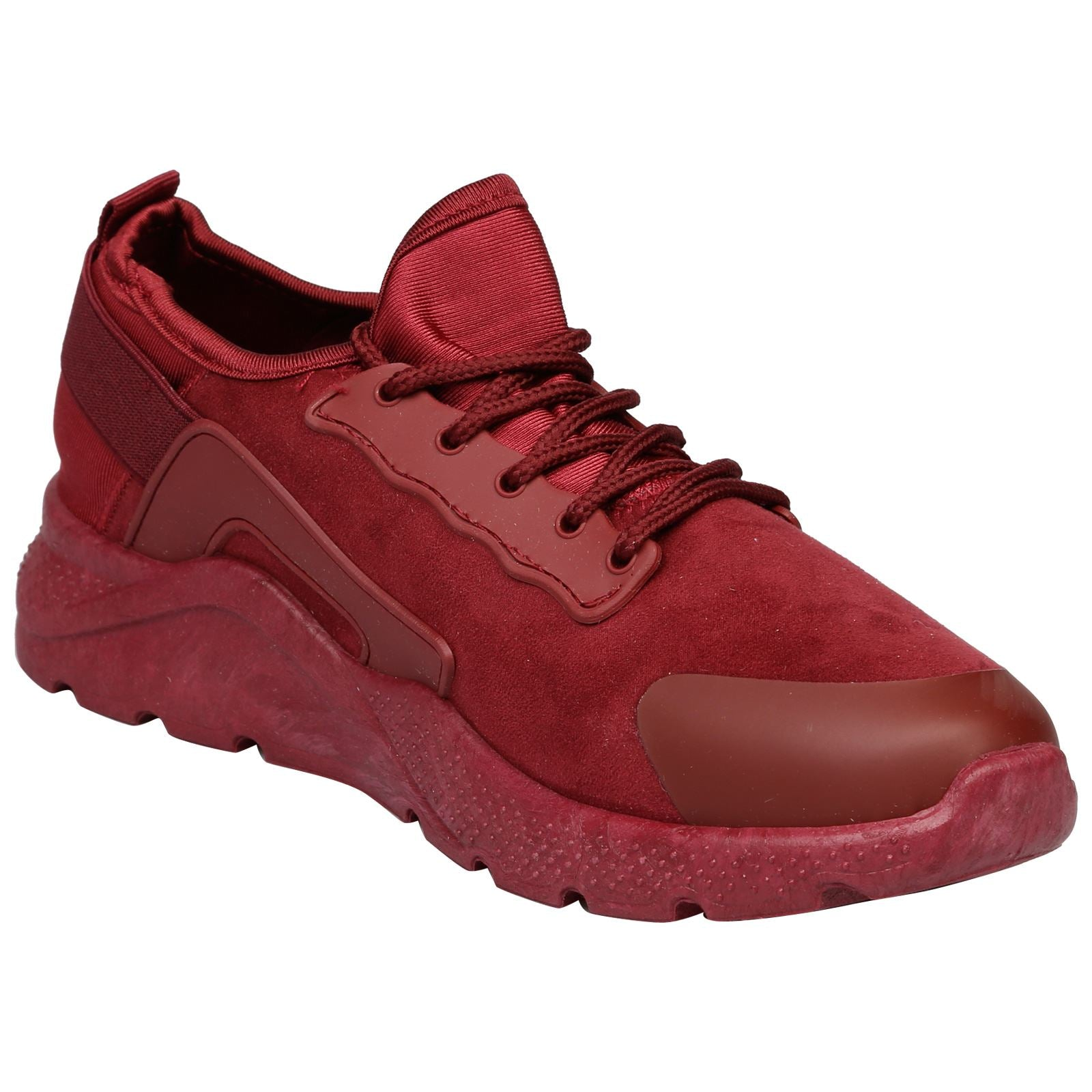 Danica Lace Up Trainers in Wine Red - Feet First Fashion
