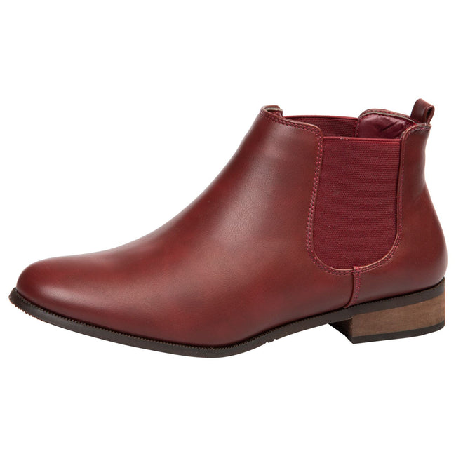 Emma Classic Chelsea Boots in Wine Red Faux Leather