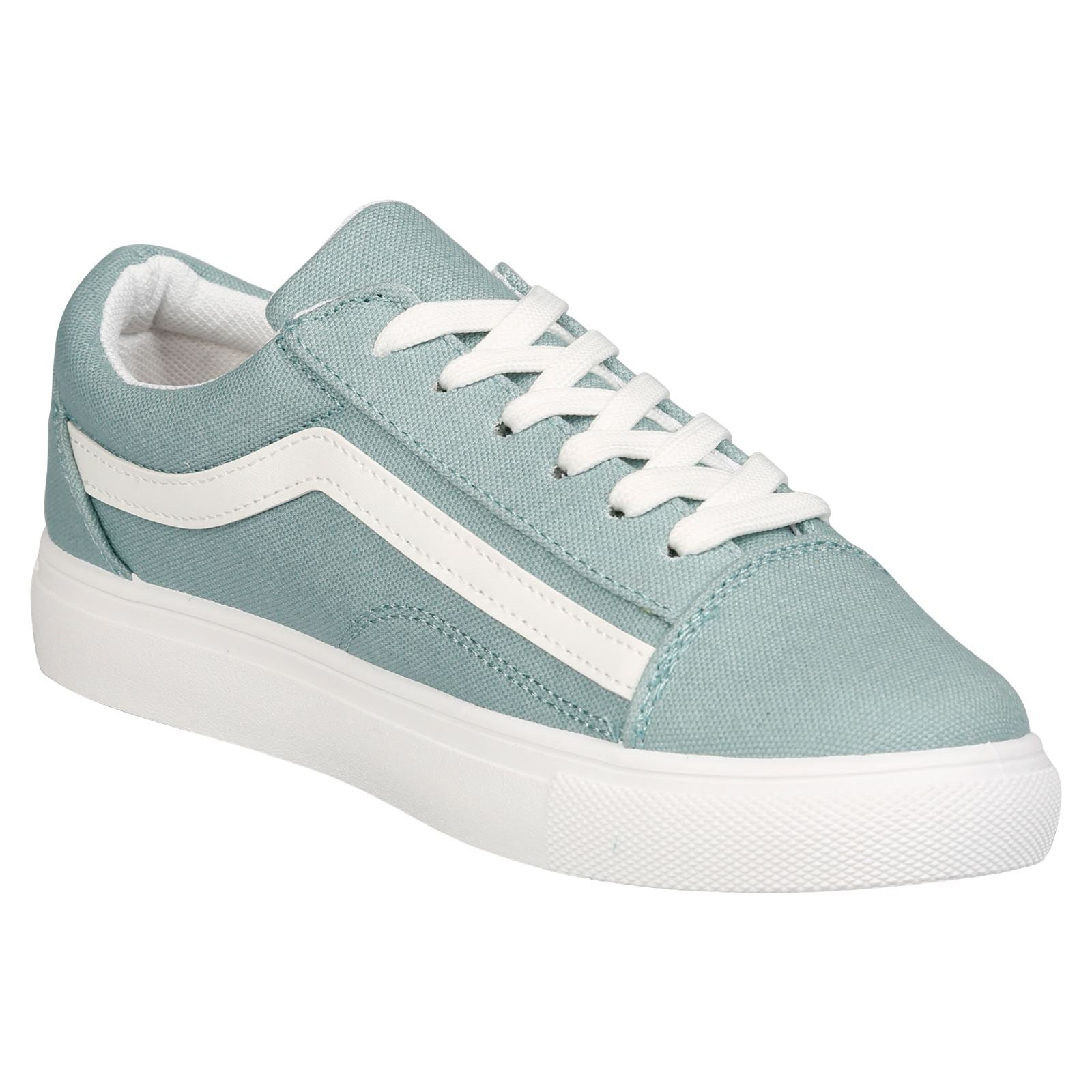 Lauren Lace Up Stripe Canvas Trainers in Blue