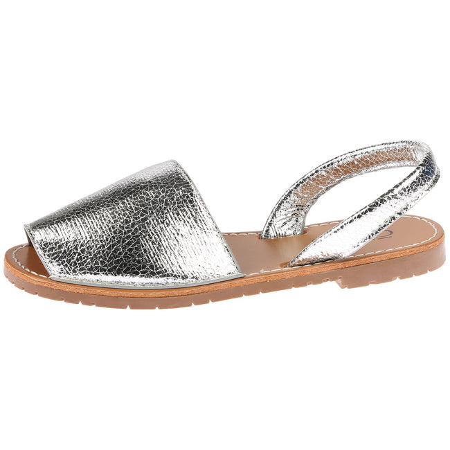 Sandy Slingback Menorcan Sandals in Silver