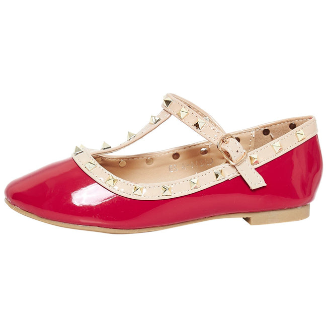 Marleigh Girls Studded T-Strap Flat Shoes in Red Patent