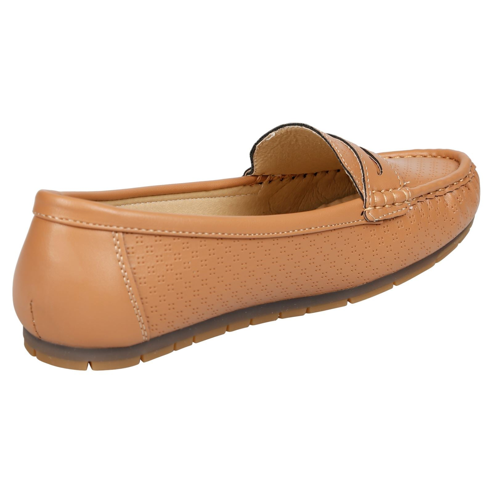 Celinda Textured Mocassins in Tan Faux Leather