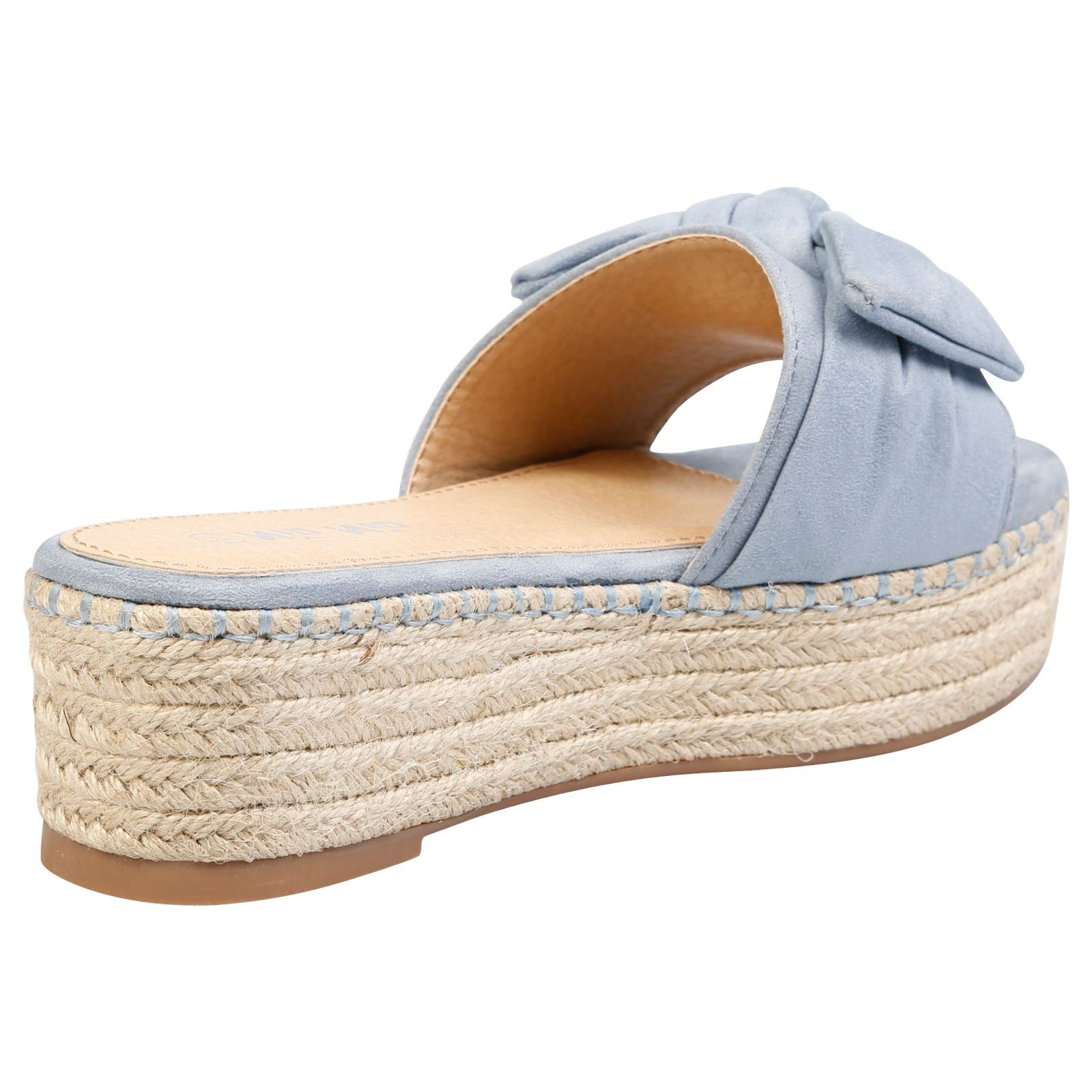 Felicity Bow Detail Espadrille Sliders in Blue Faux Suede
