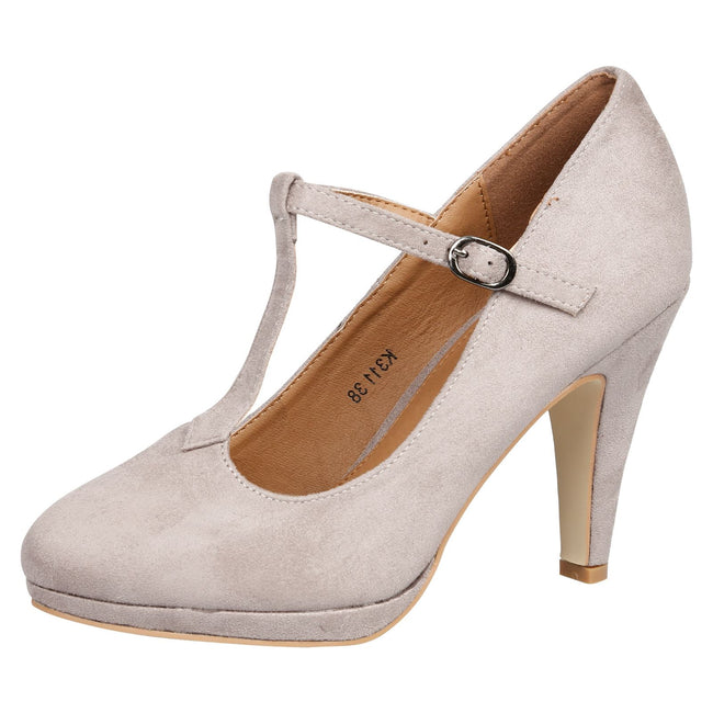Milena Heeled T- Strap Pumps in Grey Faux Suede