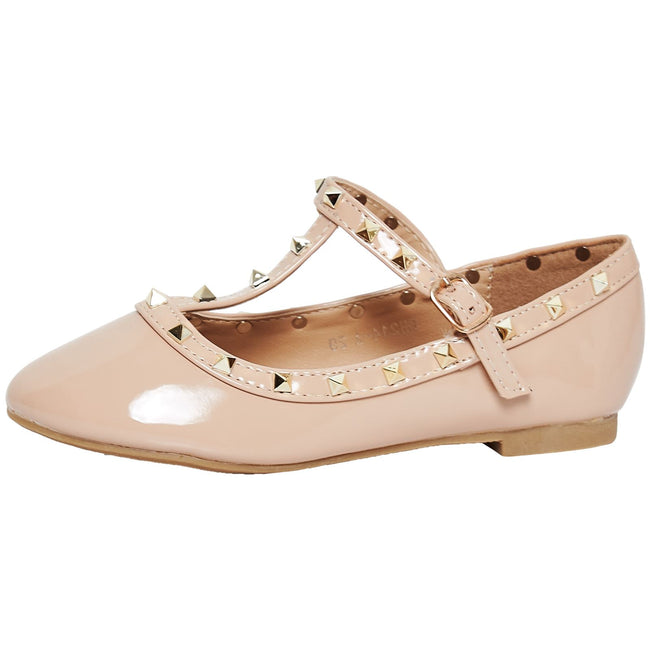 Marleigh Girls Studded T-Strap Flat Shoes in Beige Patent - Feet First Fashion