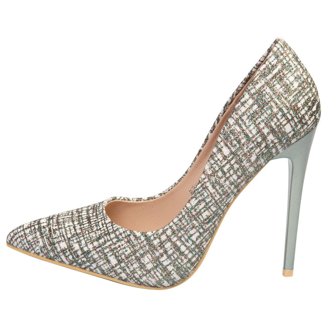 Tara Glitter Court Shoes in Silver Glitter - Feet First Fashion