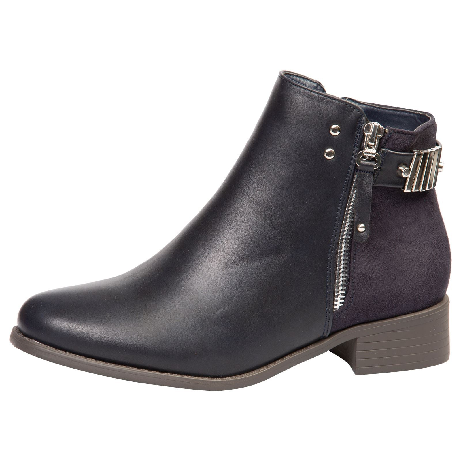 Daleyza Two-toned Ankle Boots in Navy Blue - Feet First Fashion