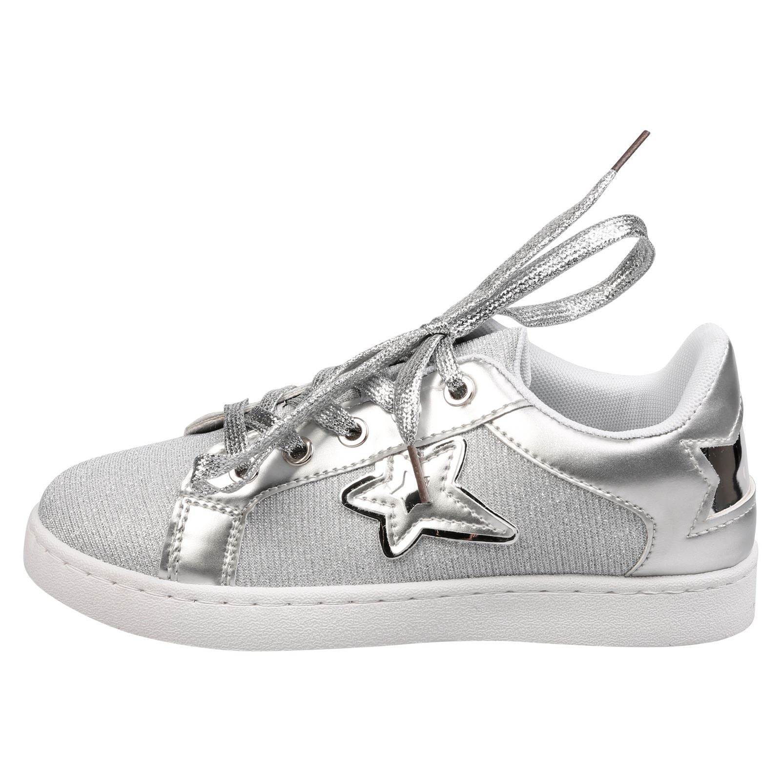 Liberty Girls Lace Up Star Trainers in Silver - Feet First Fashion