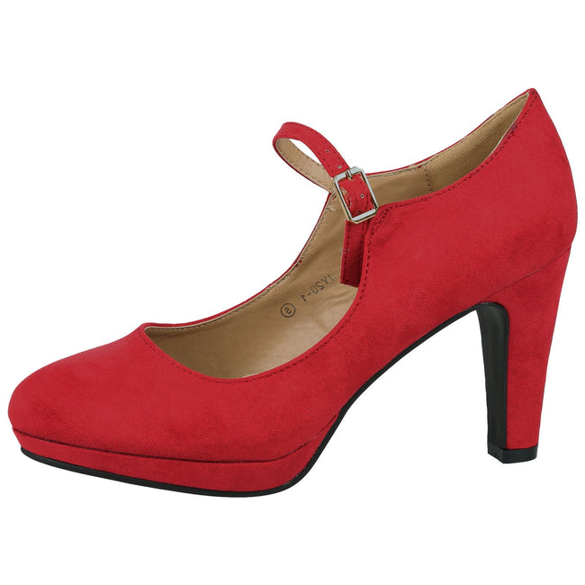 Emmeline Platform Mary Janes in Watermelon Red Faux Suede