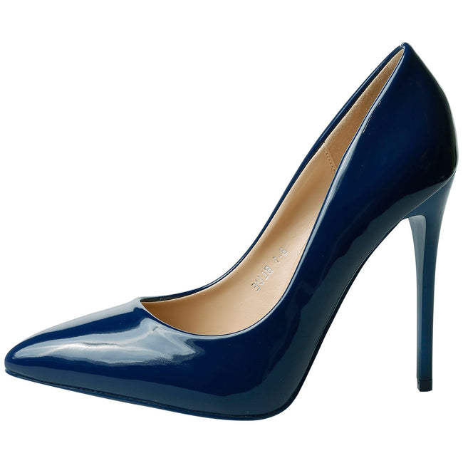 Danita Stiletto Heel Court Shoes in Navy Blue Patent