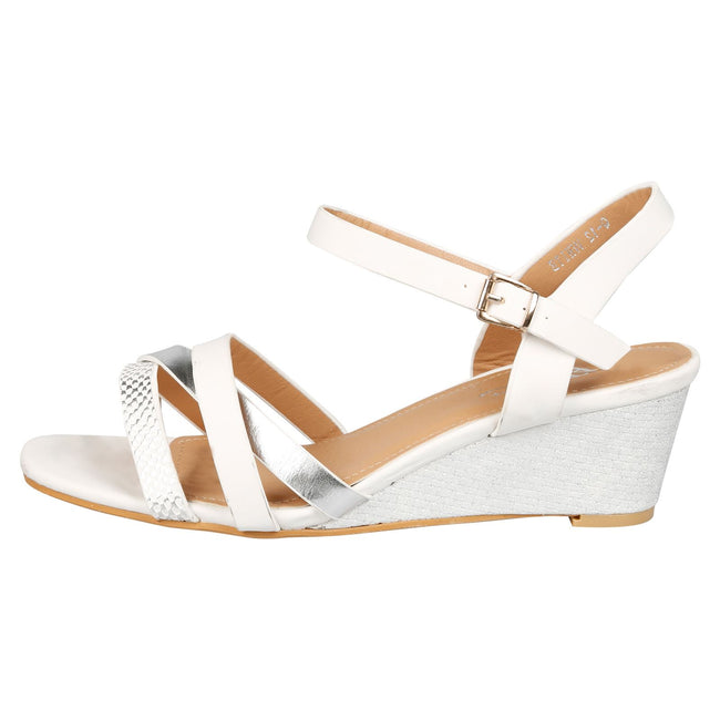 Marjorie Low Wedge Sandals in White Faux Leather