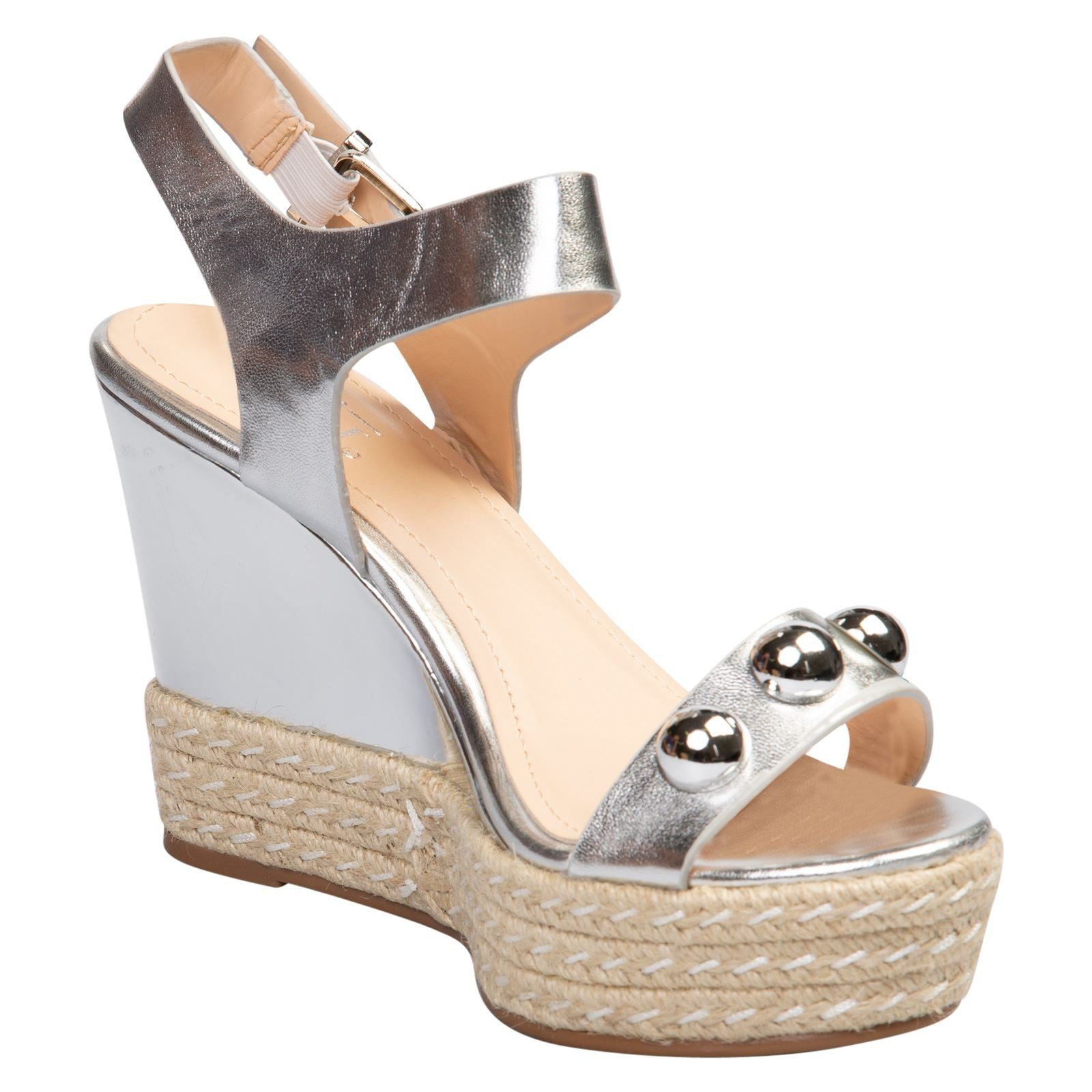 Iolanthe Studded Platform Sandals in Silver Faux Leather - Feet First Fashion