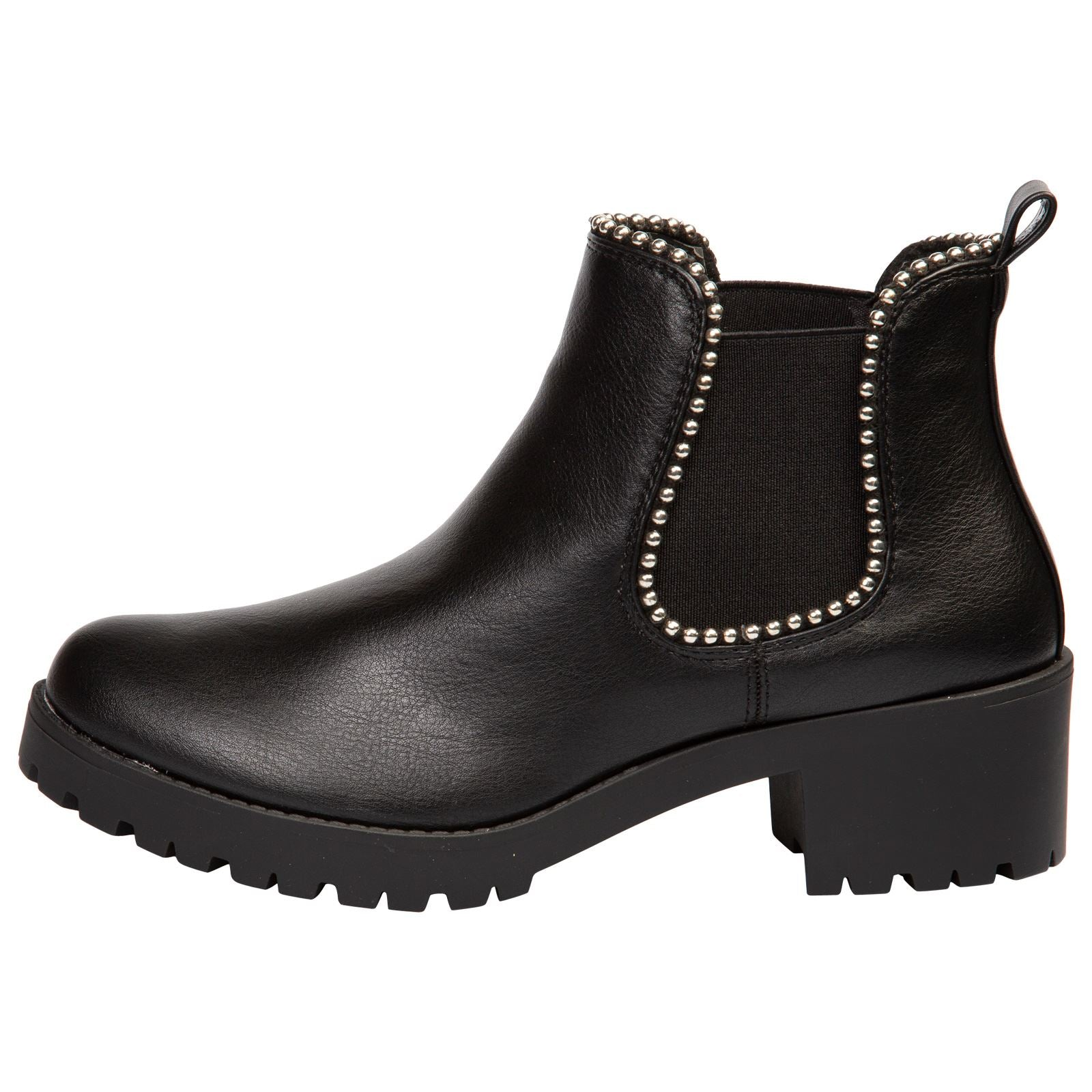 Judie Chelsea Ankle Boots in Black Faux Leather - Feet First Fashion