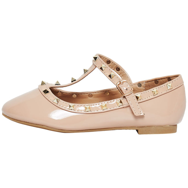 Marleigh Girls Studded T-Strap Flat Shoes in Beige Patent