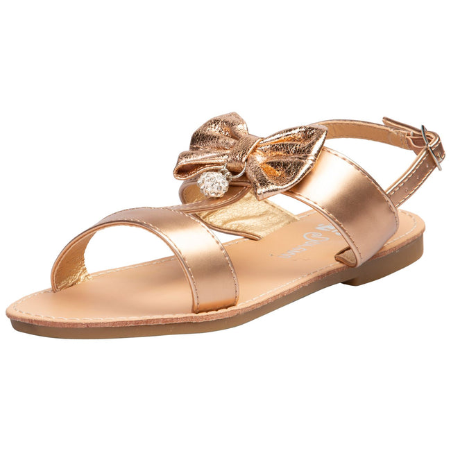 Nalani Girls T-Bar Sandals in Champagne - Feet First Fashion