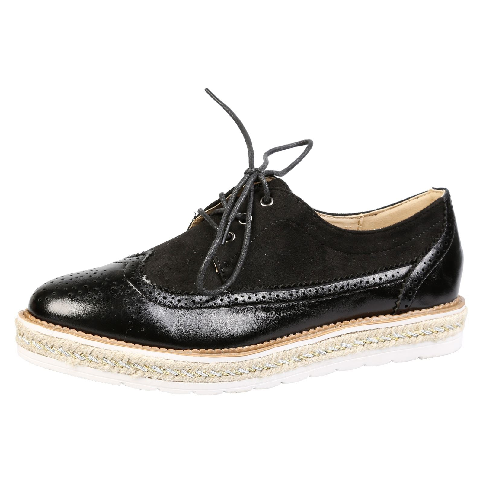 Regina Two Tone Flatform Brogues in Black Faux Leather & Suede