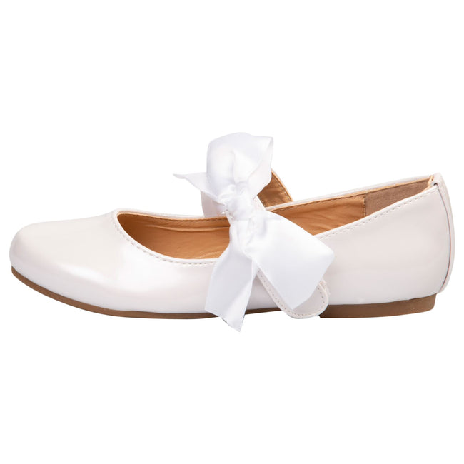 Zaniyah Girls Bow Detail Mary Janes in White Patent - Feet First Fashion