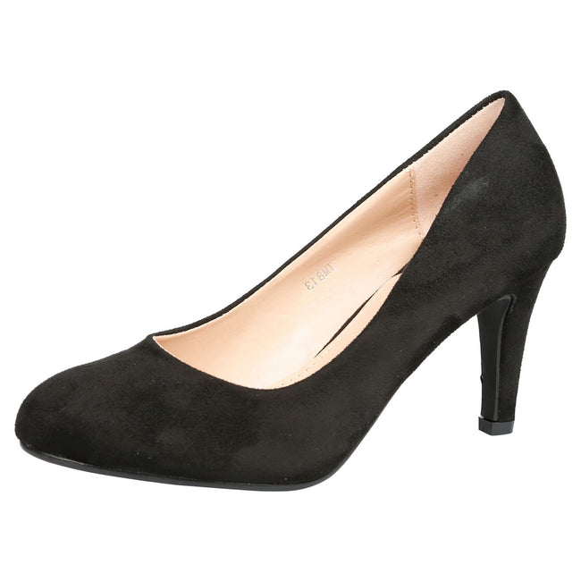 Amiya Slim Heeled Shoes in Black Faux Suede