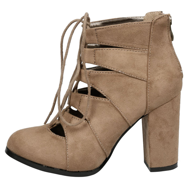 Florence Block Heel Lace Up Ankle Boots in Taupe Faux Suede