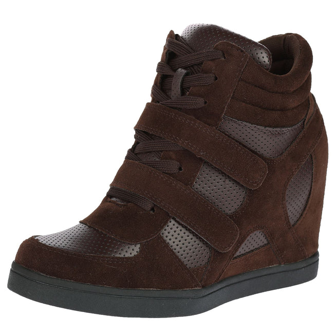 Thea Hidden Wedge Lace Up Trainers in Brown