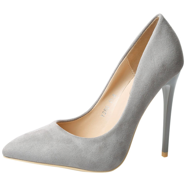 Danita Stiletto Heel Court Shoes in Grey Faux Suede