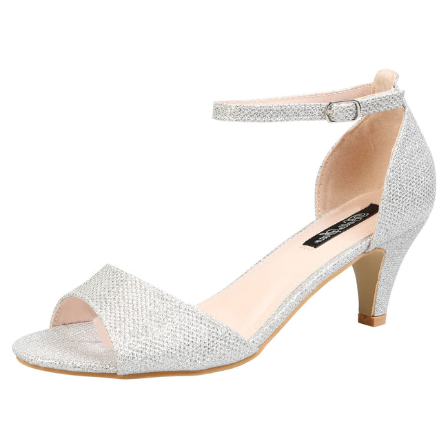 Laurie Low Heel Ankle Strap Sandals in Silver Shimmer