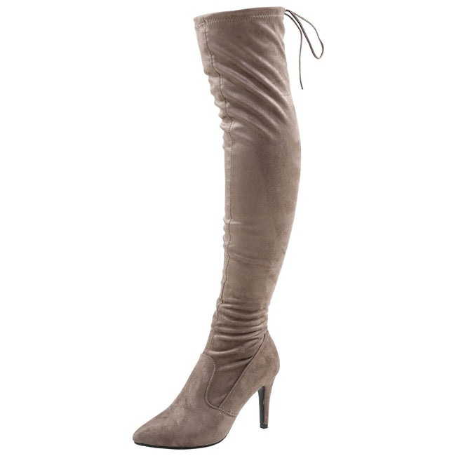Rochelle Over the Knee Tie Top Boots in Khaki Taupe Faux Suede
